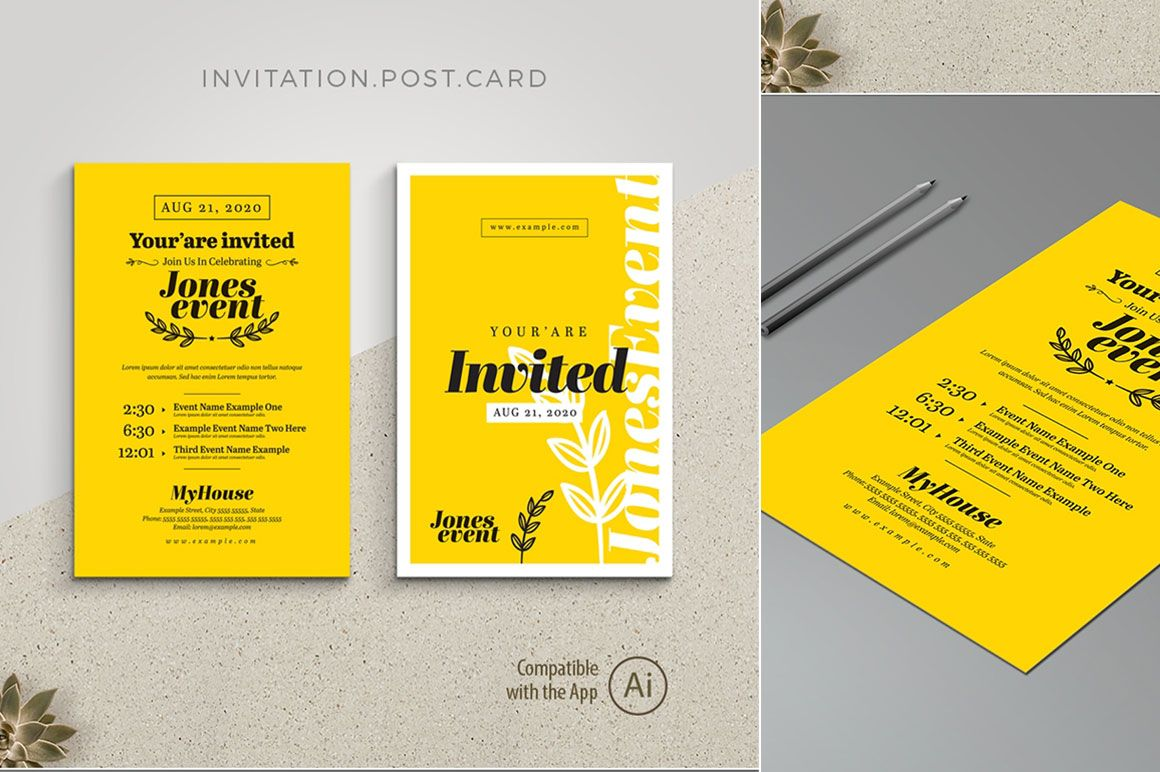 Event Invitation Postcard with Yellow Black Free | Pixelify | Best Free  Fonts, Mockups, Templat… | Event invitation design, Event invitation,  Postcard template free
