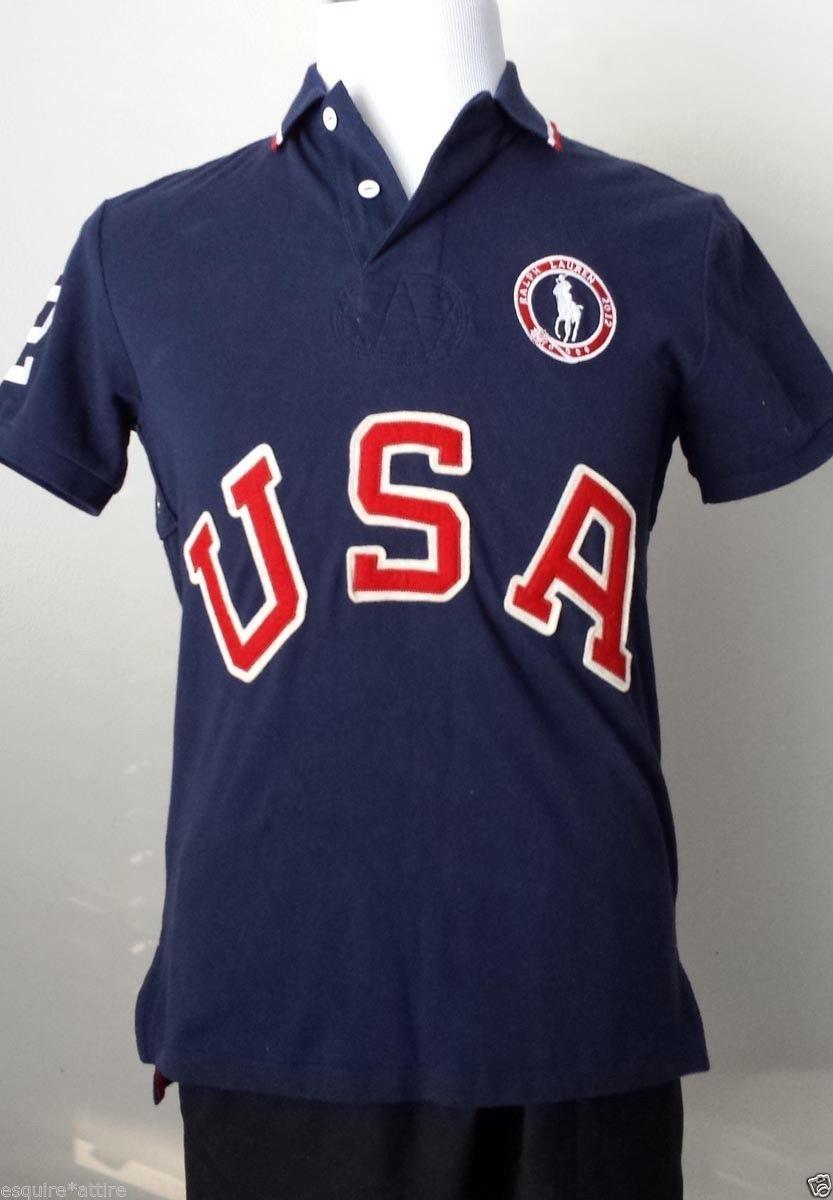 c45a3267b0 POLO Ralph Lauren Men s Polo Shirt Size M Navy Blue Cotton USA under ...