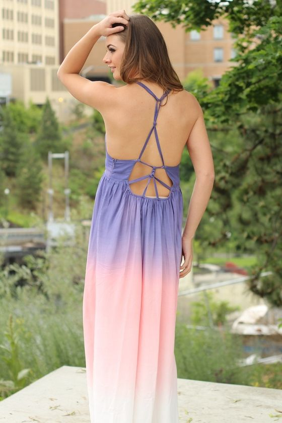 FADED GLORY PURPLE PASTEL OMBRE MAXI DRESS $52.00