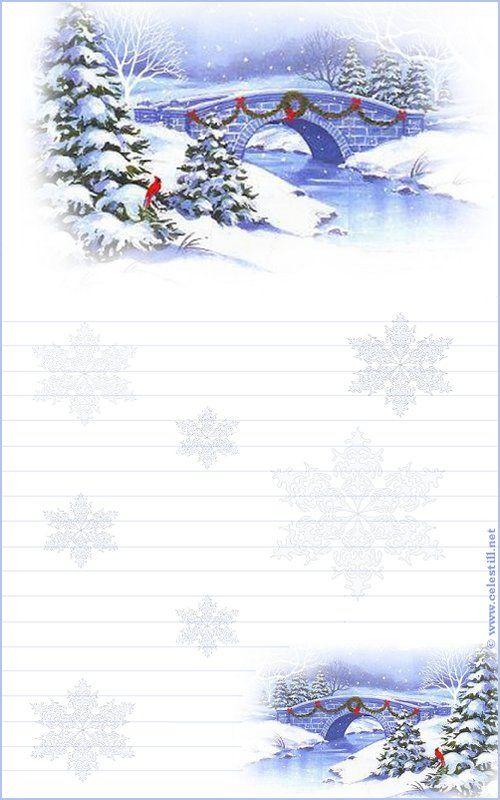 Papier à lettre à imprimer Scène Hiver Noël | Papier à ...