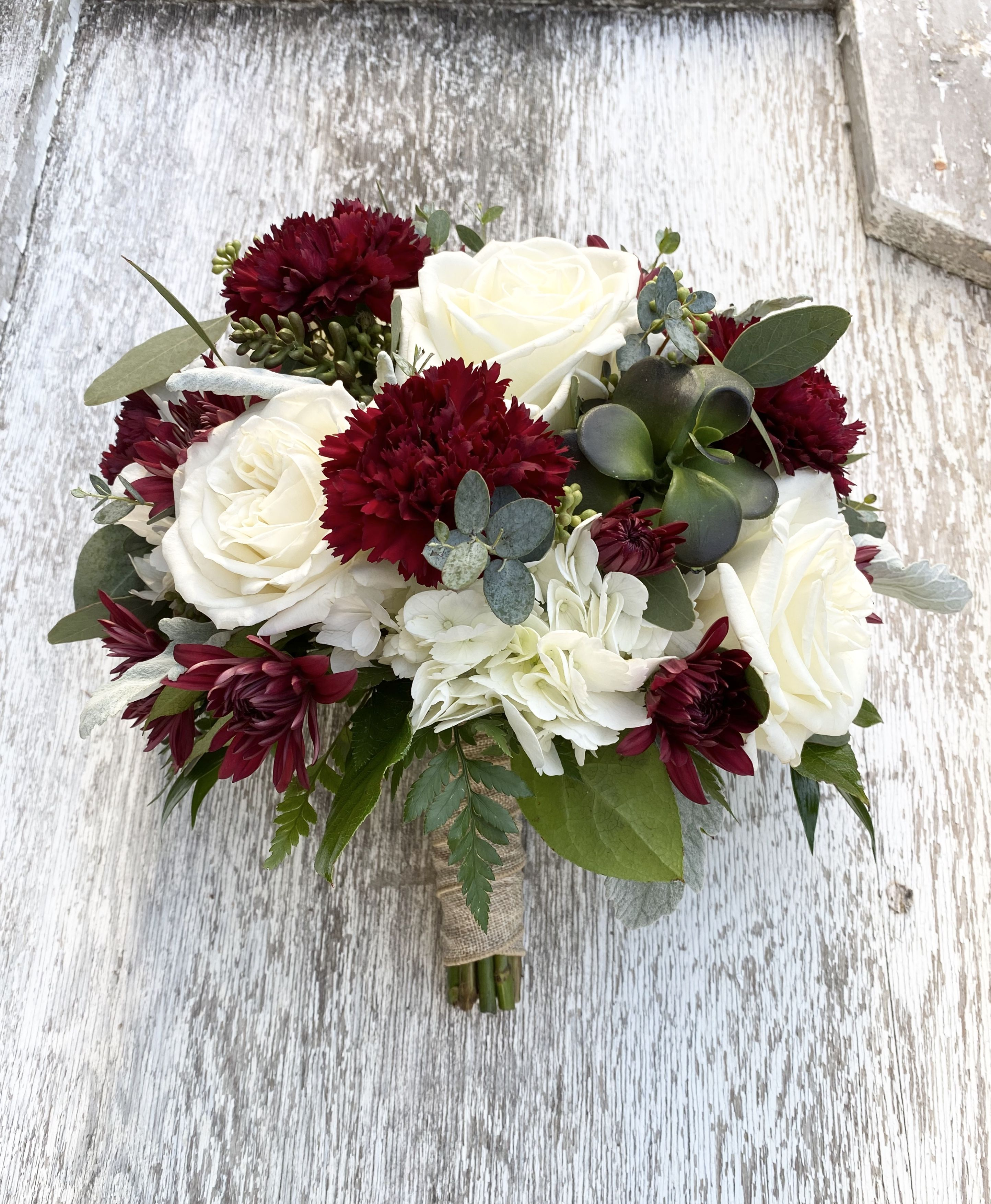 Burgundy And White Bridesmaid Bouquet In 2020 Bridesmaid Bouquet White Carnation Bridal Bouquet Bridesmaid Flowers