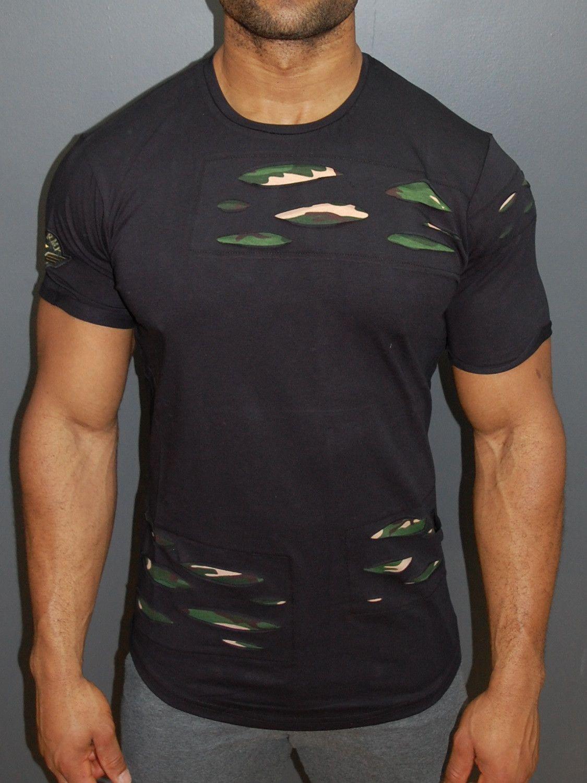 6e59bdac6d R&R Men Camo Ripped T-shirt - Black | cool t-shirts | Shirts, Cool ...