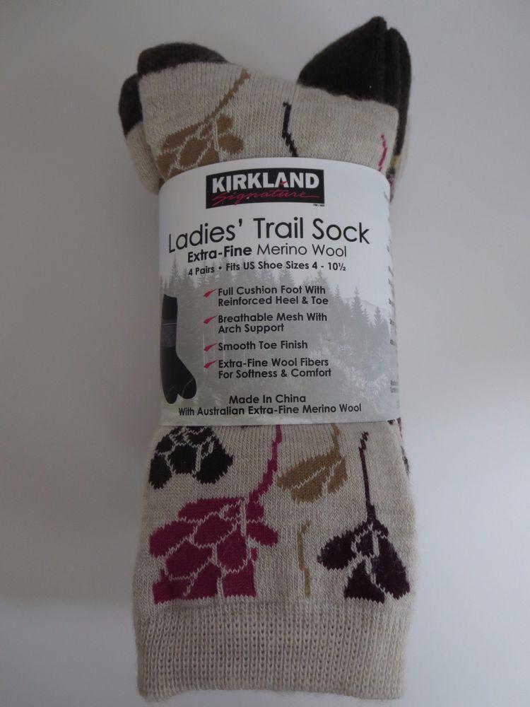 cbd91b790 Kirkland Signature Ladies Trail Socks Extra Fine Merino Wool Women 4 Pairs  Ivory…