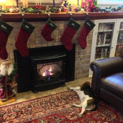 Stockings, the fire and the beagle....perfect!