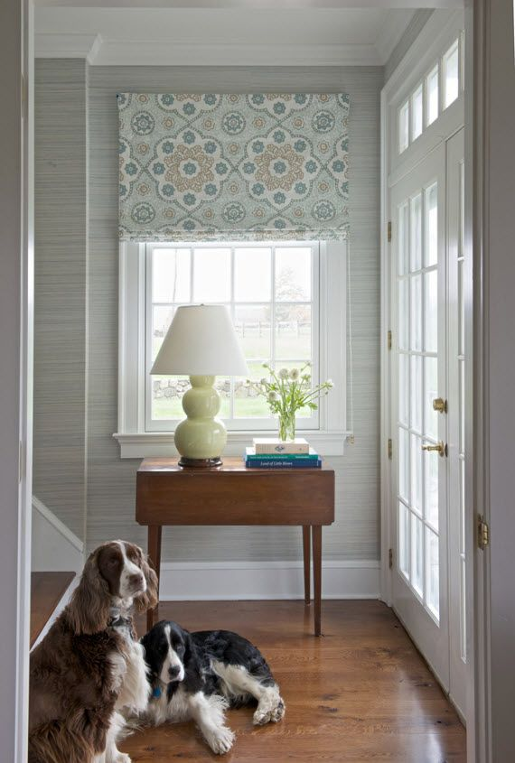 elegant entryway with roman shade - Kerry Hanson Design #entry ...