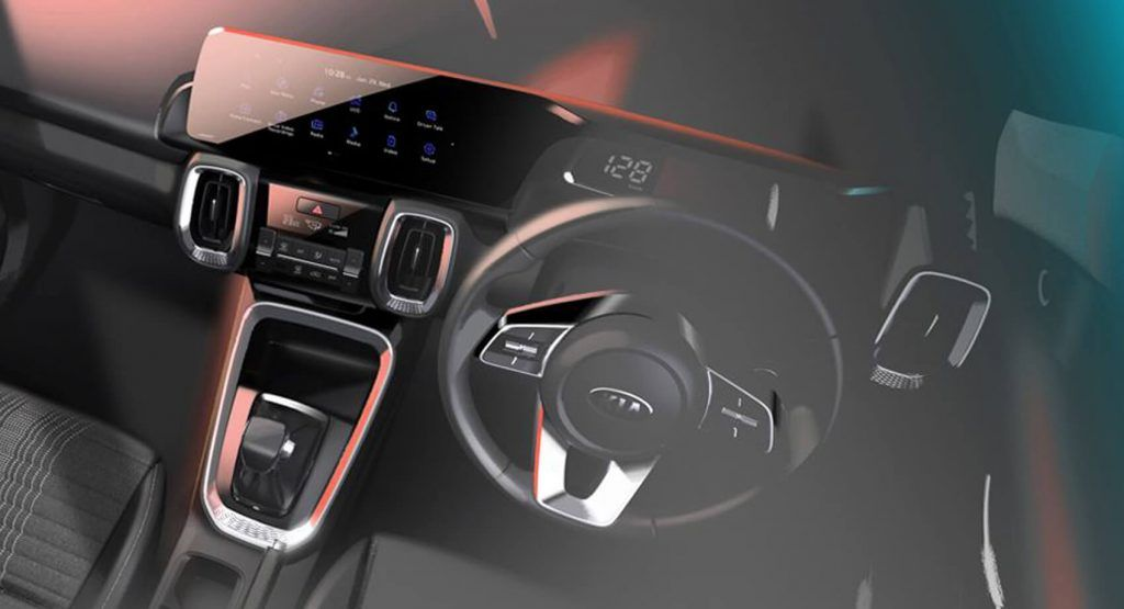 2021 Kia Sonet Small Crossover Shows Its Tech Savvy Interior For The First Time Carscoops In 2020 Kia Plastic Cladding Infotainment System