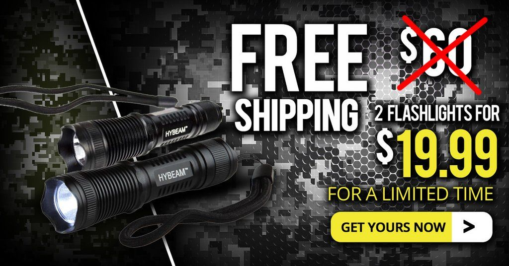 Military Grade HyBeam Tactical - 300 Lumen Ultra Bright, LED 3 Mode Flashlight