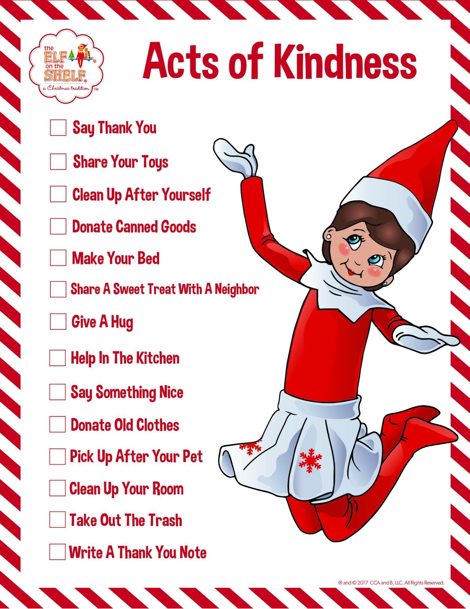 Elf On The Shelf Acts Of Kindness Printable Page