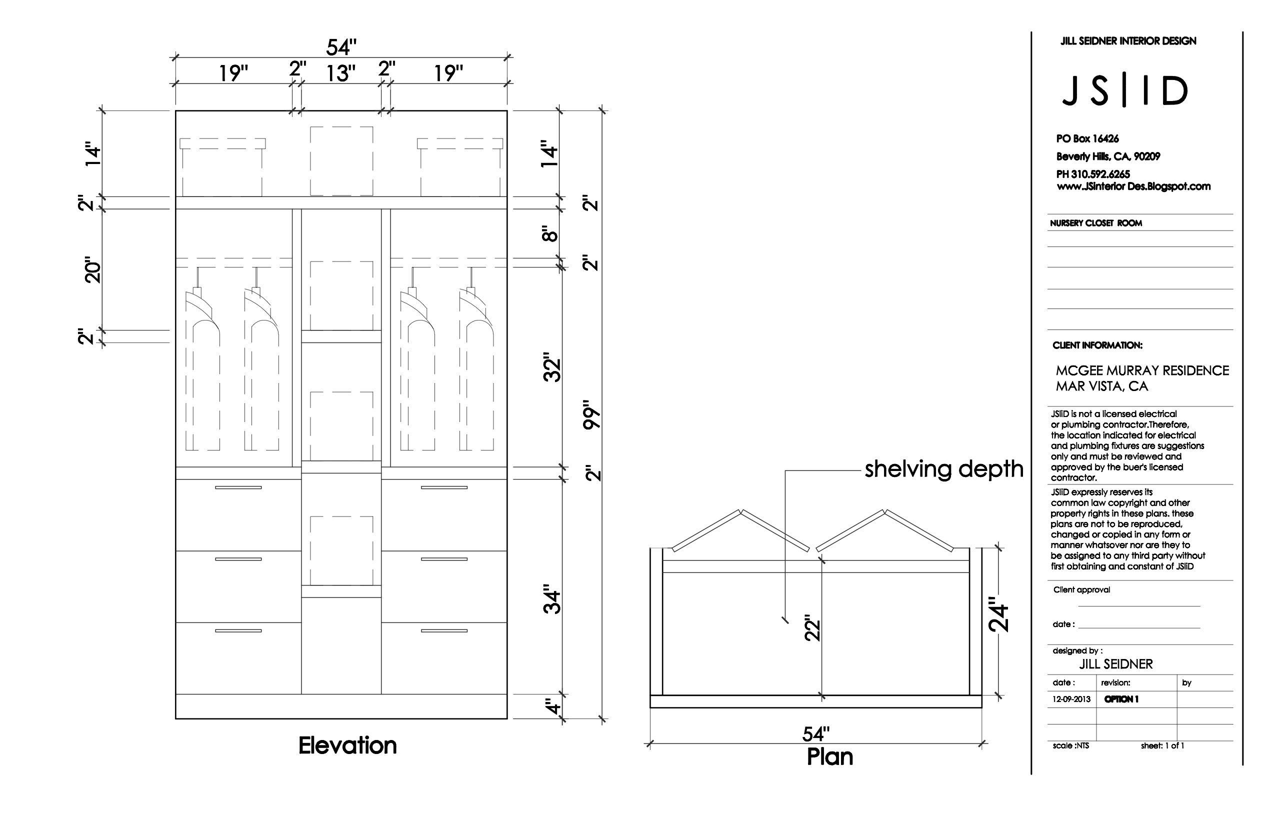 West LA, CA Residence Nursery Custom Closet Plan U0026 Elevation Detailed  Design Drawing, Option