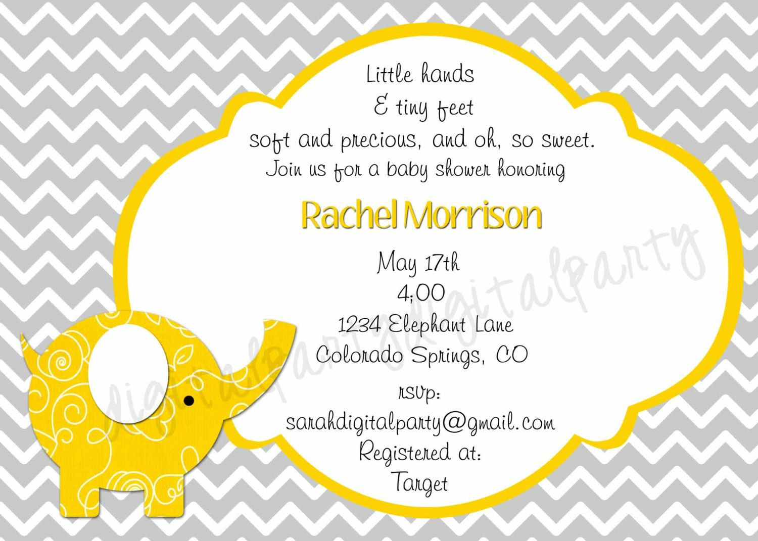 Yellow and Grey Elephant Baby shower invitation 4x6 or 5x7 you