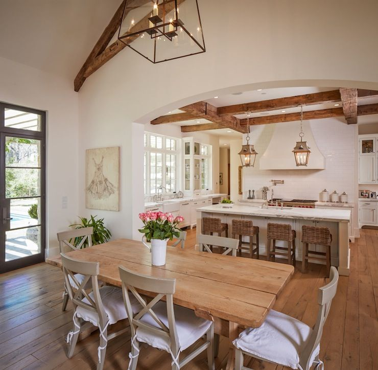 46 Popular Farmhouse Dining Room Design Ideas Trend 2019: Gorgeous Dining Room Features Vaulted Ceiling Accented