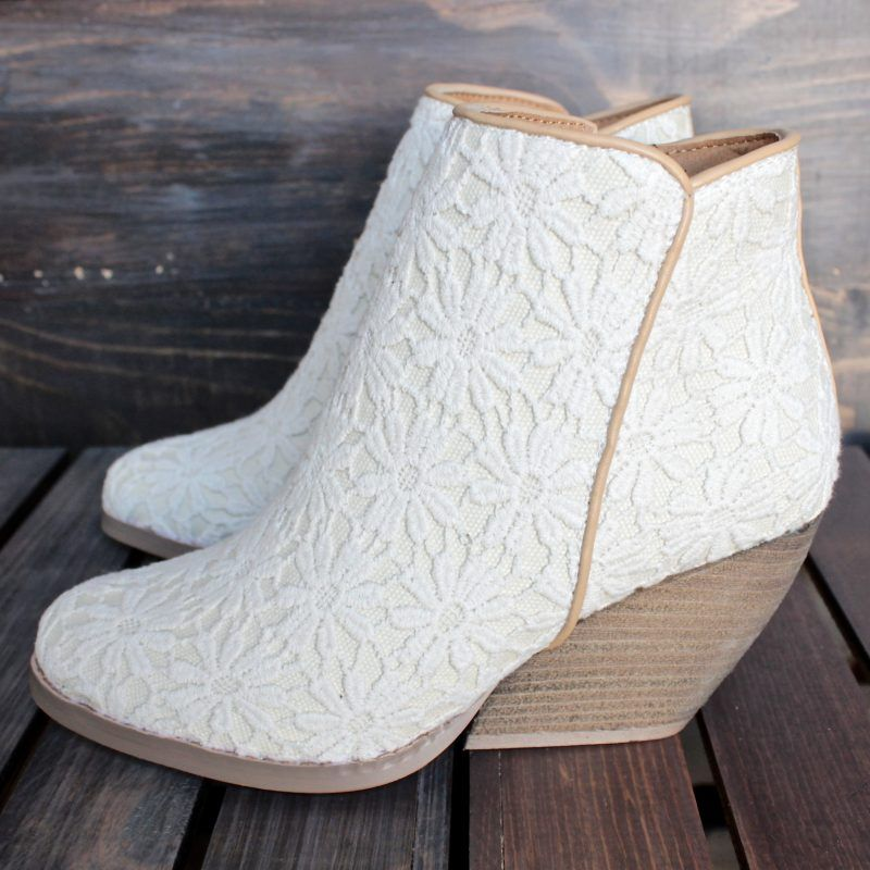 Wedding Wedges You Can Actually Walk In With Lace Ivory And Gold Offbeat Bride Lace Ankle Boots Bride Boots Wedding Shoes Boots