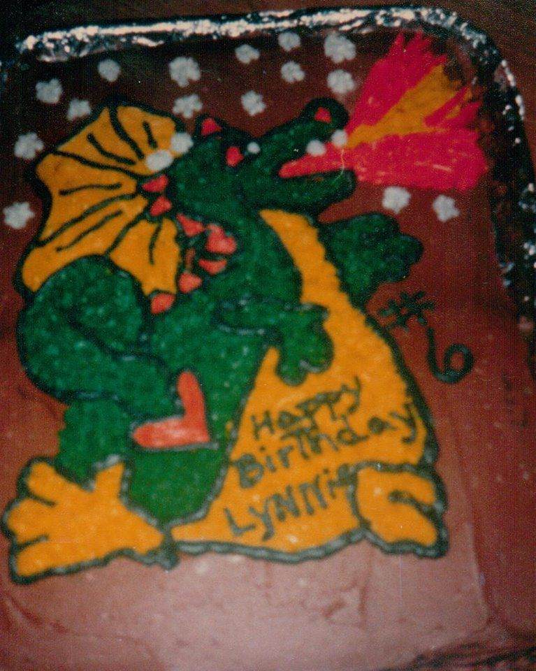 hand drawn dragon cake I made for my son in 1987