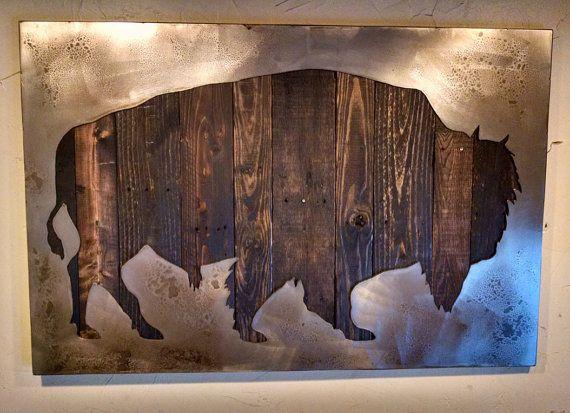 American bison silhouette metal art reclaimed wood by bohlbros