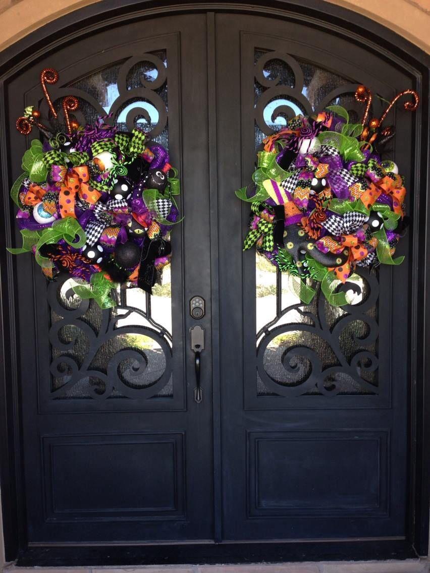 Matching Halloween Wreaths For Double Doors Door Wreaths Diy
