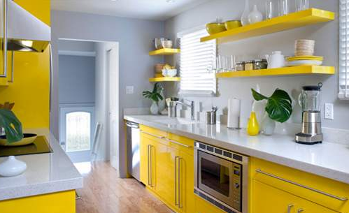 organisation deco cuisine gris et jaune cuisine. Black Bedroom Furniture Sets. Home Design Ideas