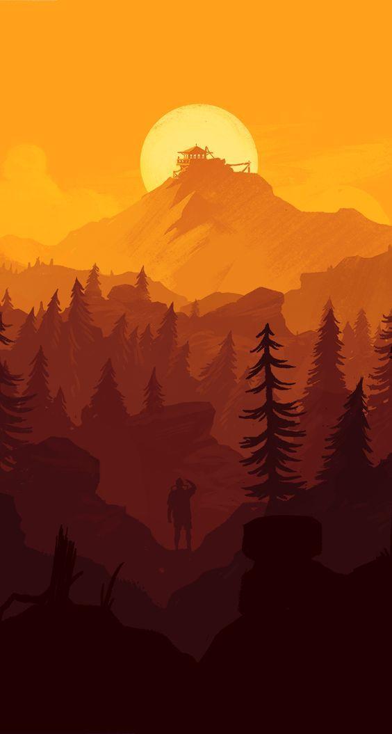 Mountain Refuge Phone Wallpaper Landscape Illustration Fantasy