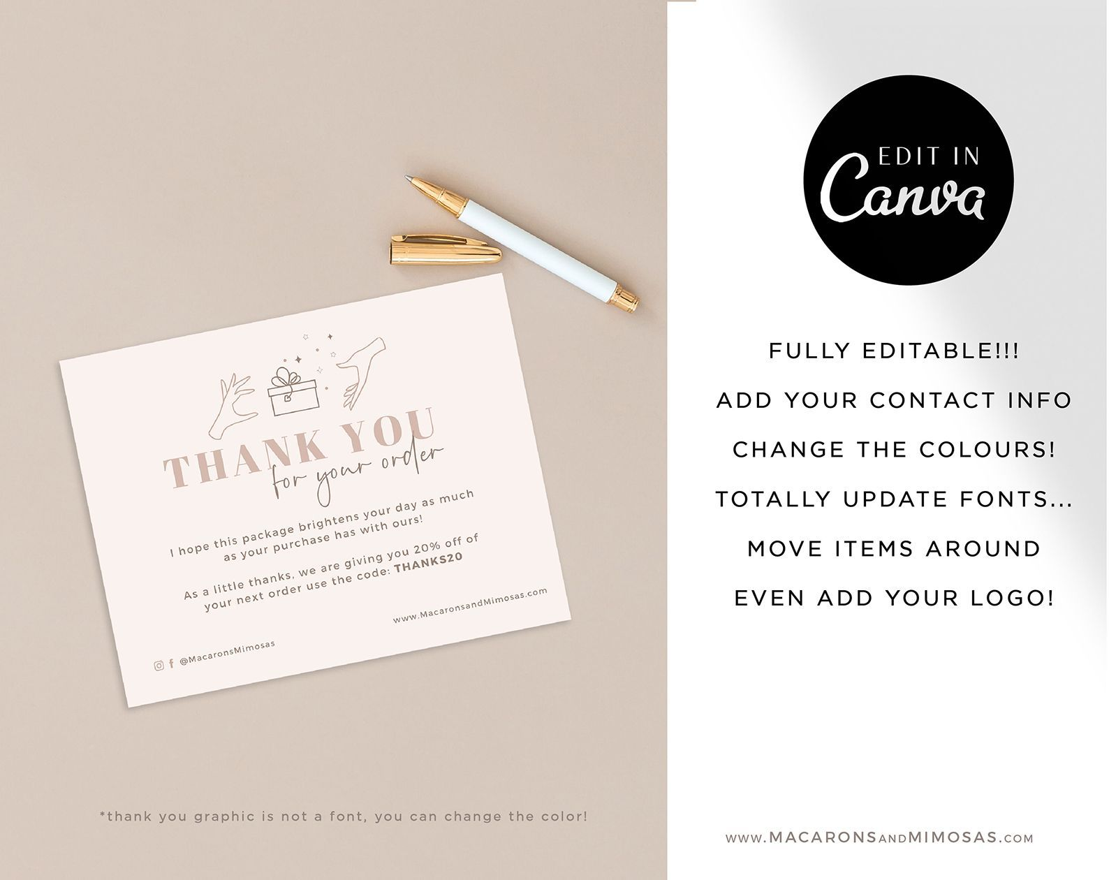 Devyn Thank You Cards Macarons And Mimosas Business Card Template Design Note Card Template Business Card Design