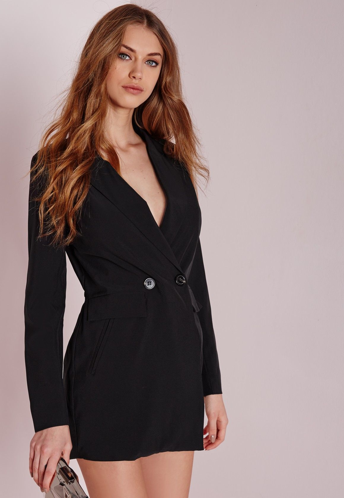 5b2c4199947 Missguided - Tuxedo Style Long Sleeve Playsuit Black