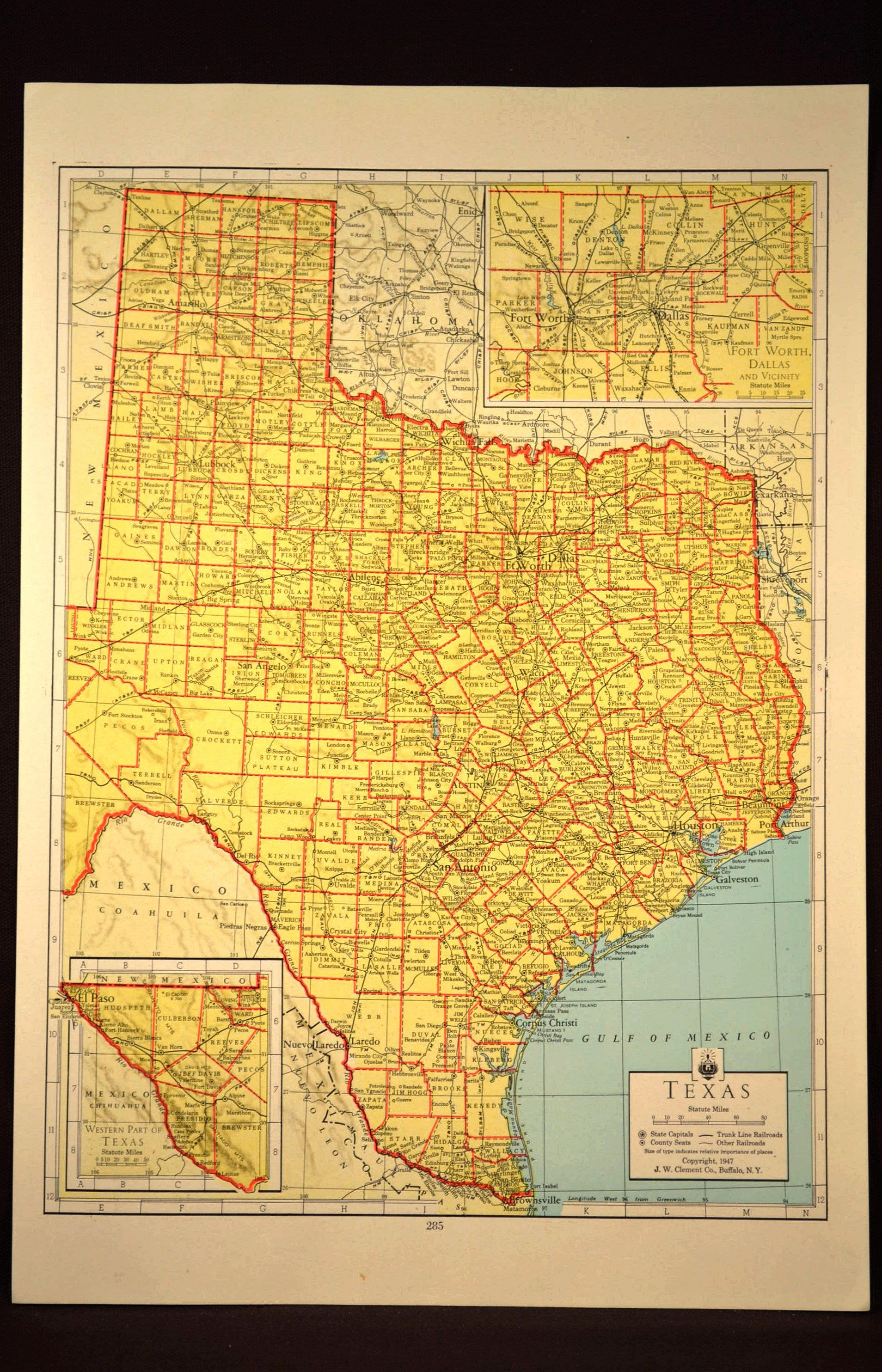 Colorful Yellow Vintage Texas Map Texas Colorful Wall Art | Map Wall ...