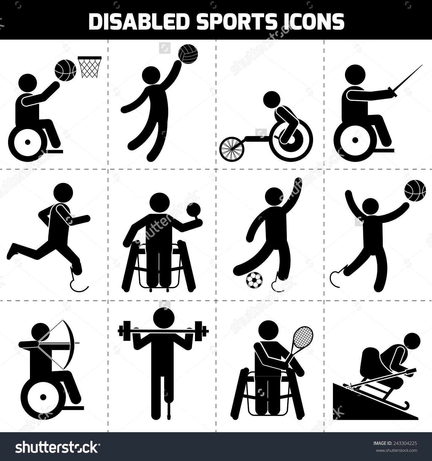 Stock Vector Disabled Sports Black Pictogram Invalid People Icons Set Isolated Vector Illustration 243304225 J Pictogram Graphic Design Infographic People Icon