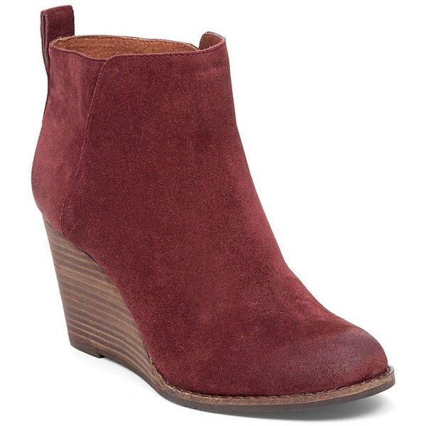 29ce9afa9d58 Lucky Brand Yezzah Suede Stacked Wedge Bootie ( 40) ❤ liked on Polyvore  featuring shoes