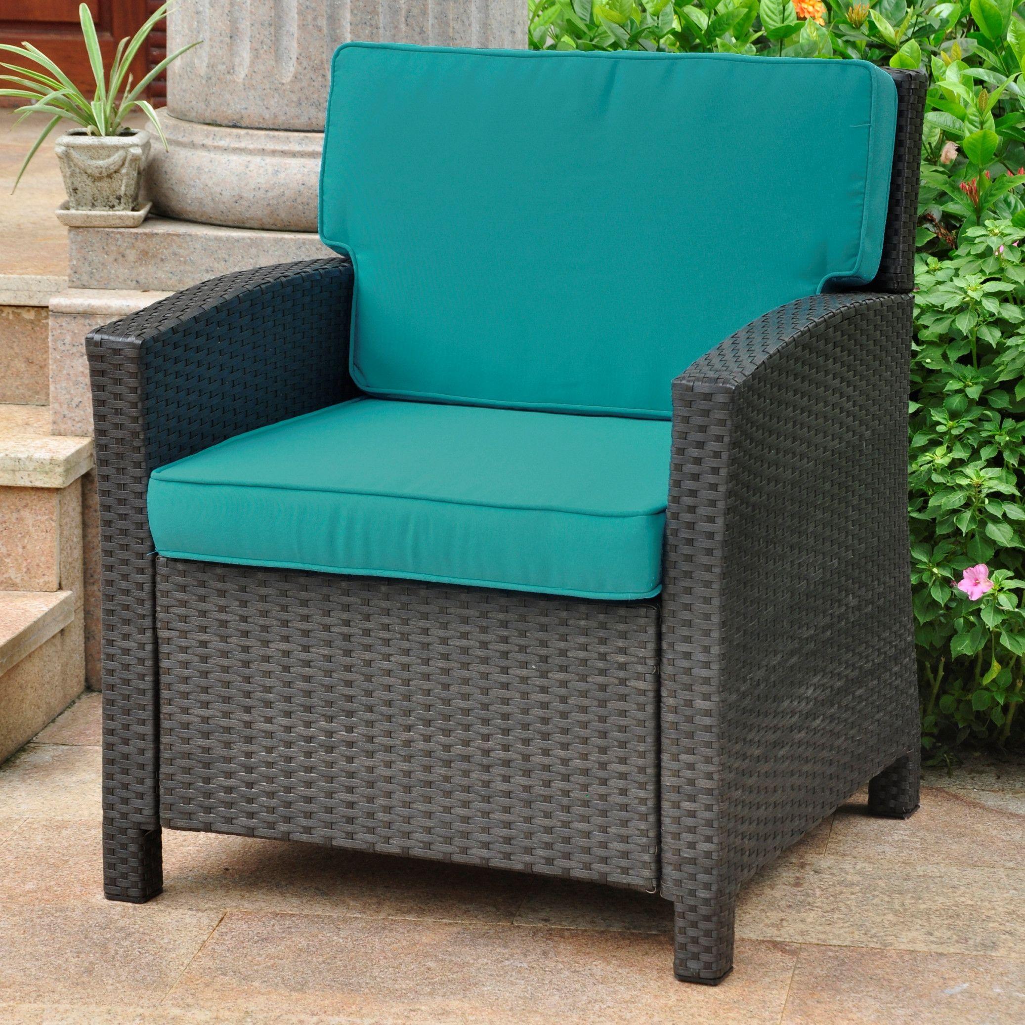 International caravan valencia wicker resin contemporary patio chair with cushion