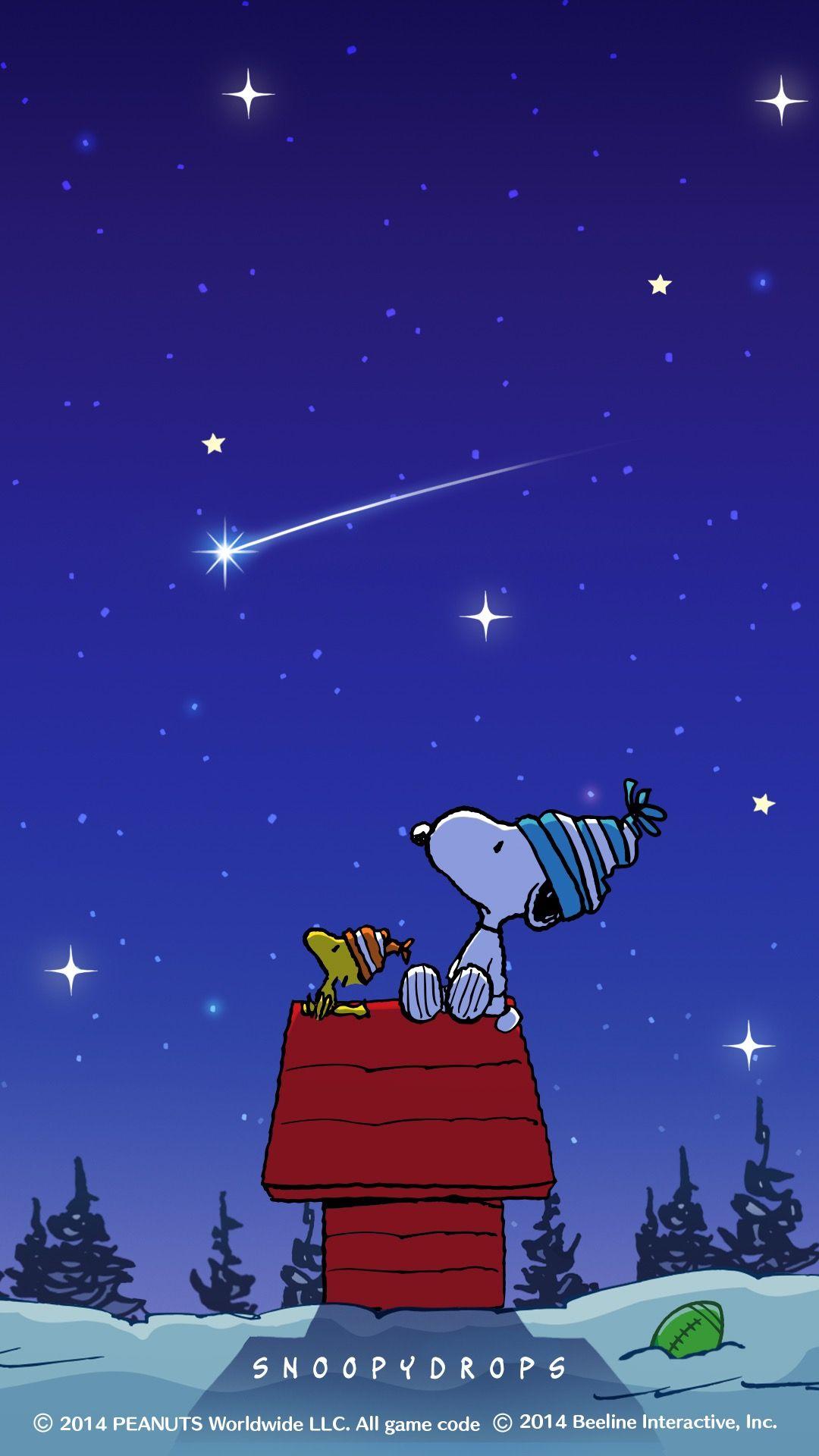 Snoopy スヌーピー 冬の夜空 冬の壁紙