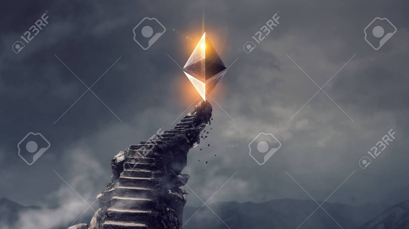 Stone stairway and crypto currency symbol on top. Mixed