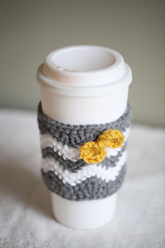 Caffeinated Chevrons Coffee Cup Cozy Ready to by CrochetbyCarr ...