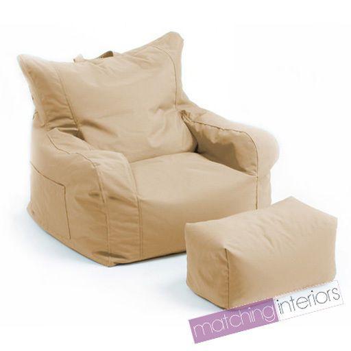 Beige Budget Bean Bag Chair Foot Stool Gamer Armchair Garden Beanbag Seating