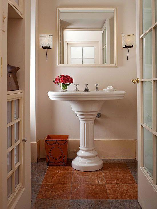 Best Bathroom Flooring Options  Pedestal Sink Powder Room And Entrancing Bathroom Flooring Options Decorating Inspiration