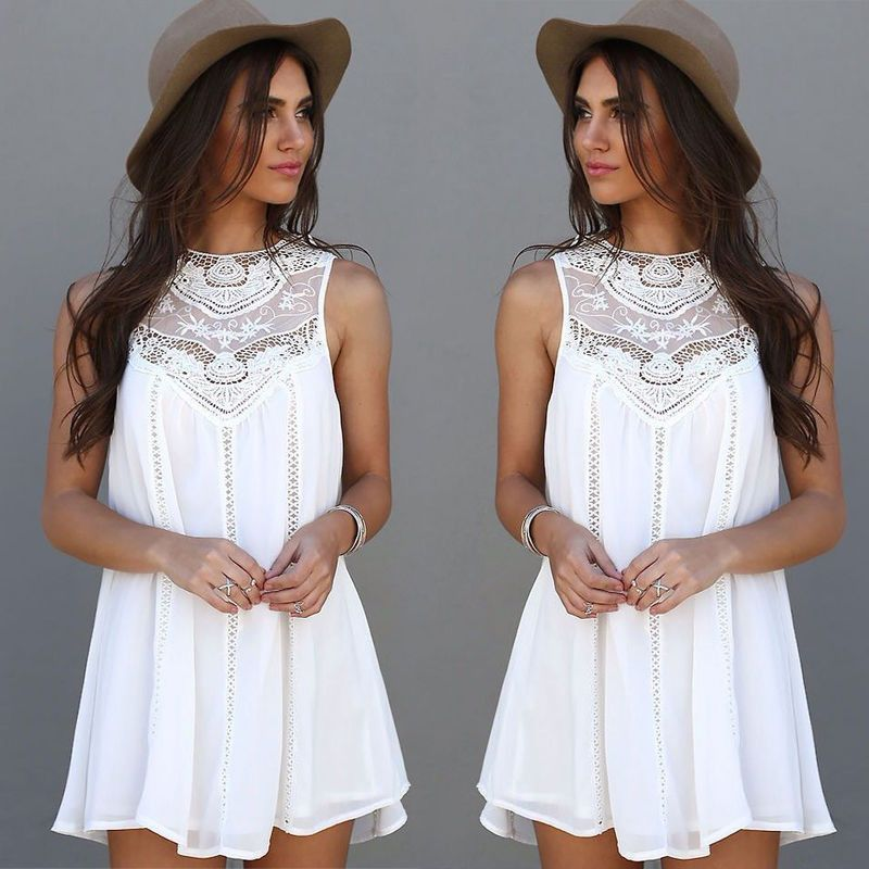 Summer Dress Sexy Women Casual Sleeveless Beach Short Dress Tassel Solid White Mini Lace Dress Vestidos Plus Size