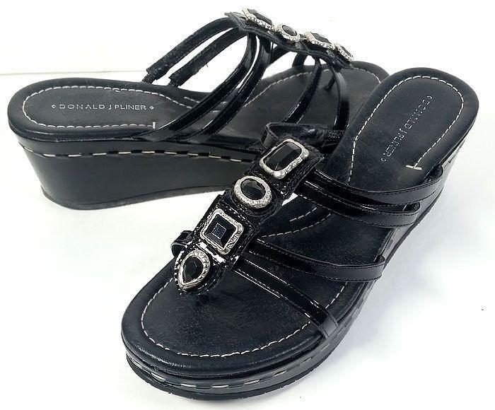 $289 Donald Pliner 8.5 Sandals Black Leather & ONYX Platform Wedges *Excellent* #DonaldJPliner #PlatformsWedges