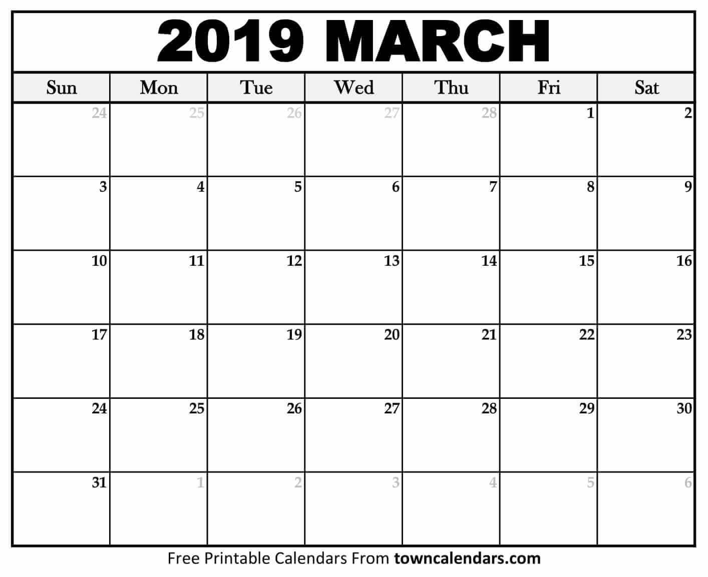 Printable March 2020 Calendar Monthly Template Download