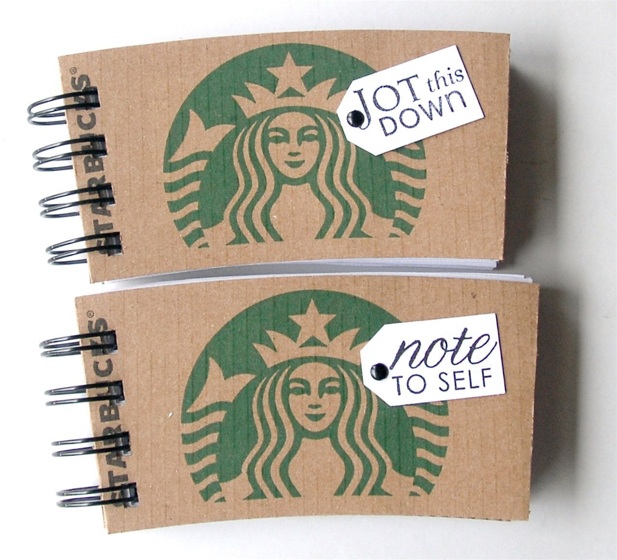 STARBUCKS SPIRAL NOTEPAD made out of Coffee Sleeves-set of 2 by CampfireDesigns on Etsy https://www.etsy.com/listing/82885382/starbucks-spiral-notepad-made-out-of