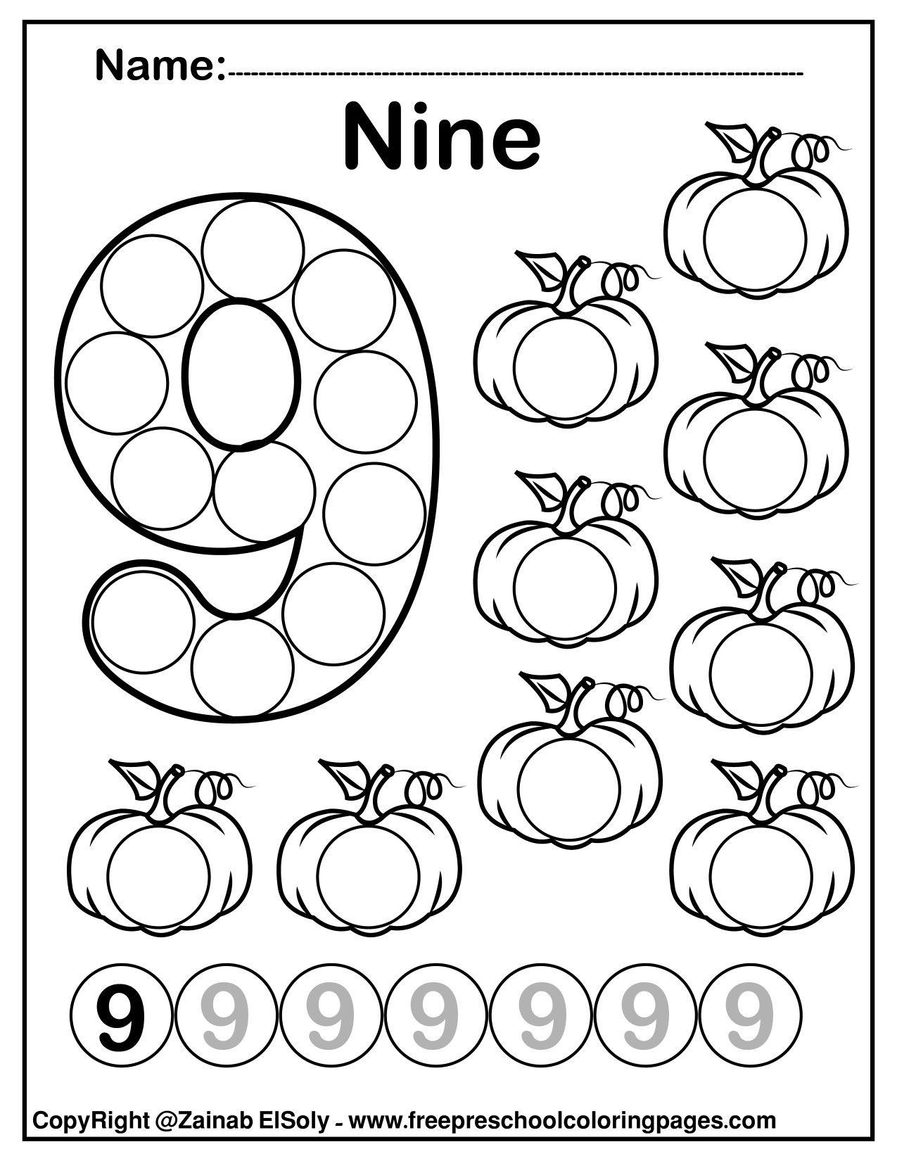 Number 9 Nine Do A Dot Marker Activity Activity Pumpkins Fall Autumn Activity For Kids Math Activities Preschool Dot Markers Free Preschool