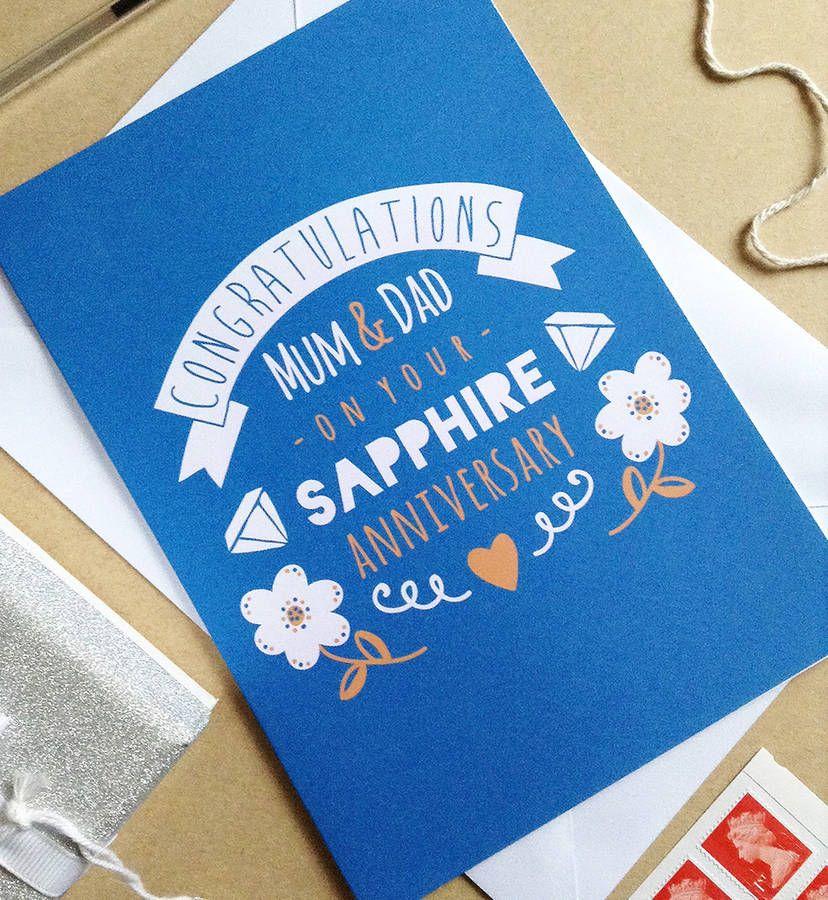 sapphire wedding anniversary invitations%0A Personalised Sapphire Wedding Anniversary Card