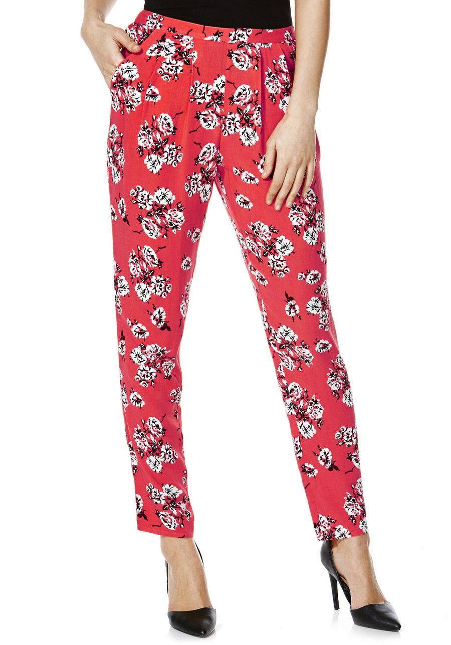 7322e8dab96f8 Clothing at Tesco | F&F Floral Tapered Trousers > trousers > Holiday Shop >  Women