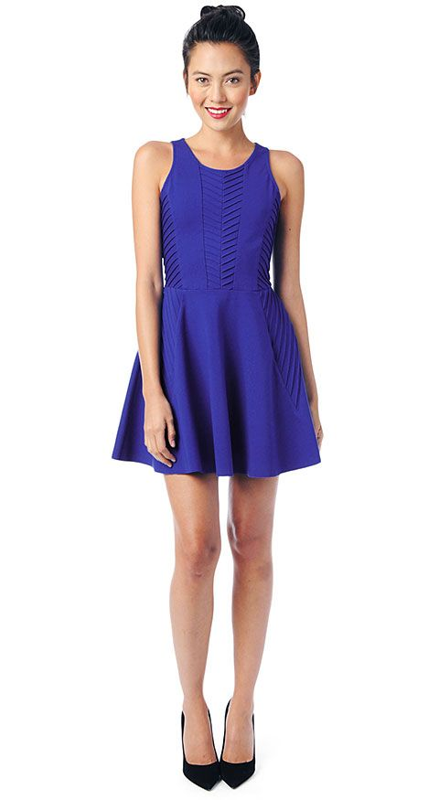 Cobalt blue is just the right hue to combat winter blues. The rich, vibrant shade colors this flirty frock for an electrifying look that pairs...