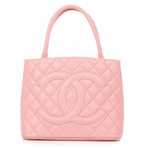 c777558ac Vintage Chanel pink classic medallion caviar skin tote bag ❤ liked on  Polyvore featuring bags, handbags, chanel, purses, bolsas and filler