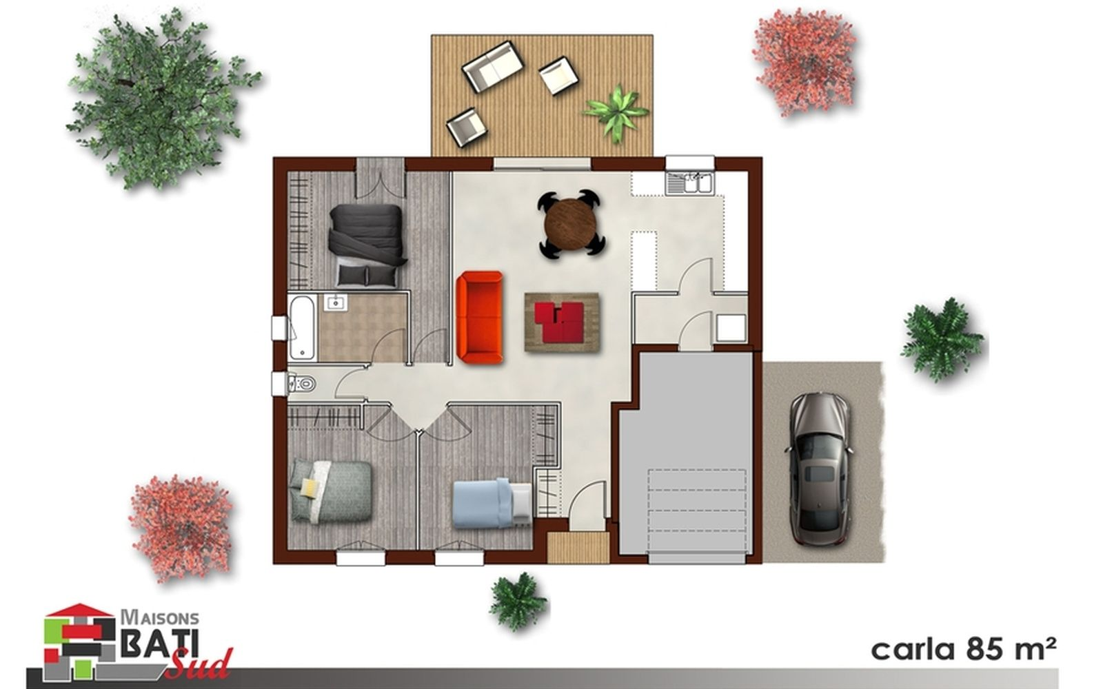 plan parfaitement optimis d 39 une petite maison avec 3 chbres cuisine ouverte cellier. Black Bedroom Furniture Sets. Home Design Ideas