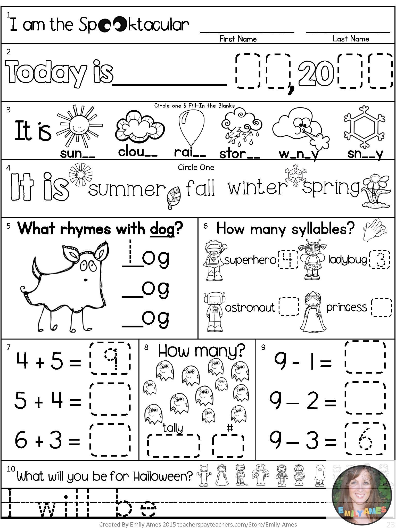 Morning Work October First Grade Packet
