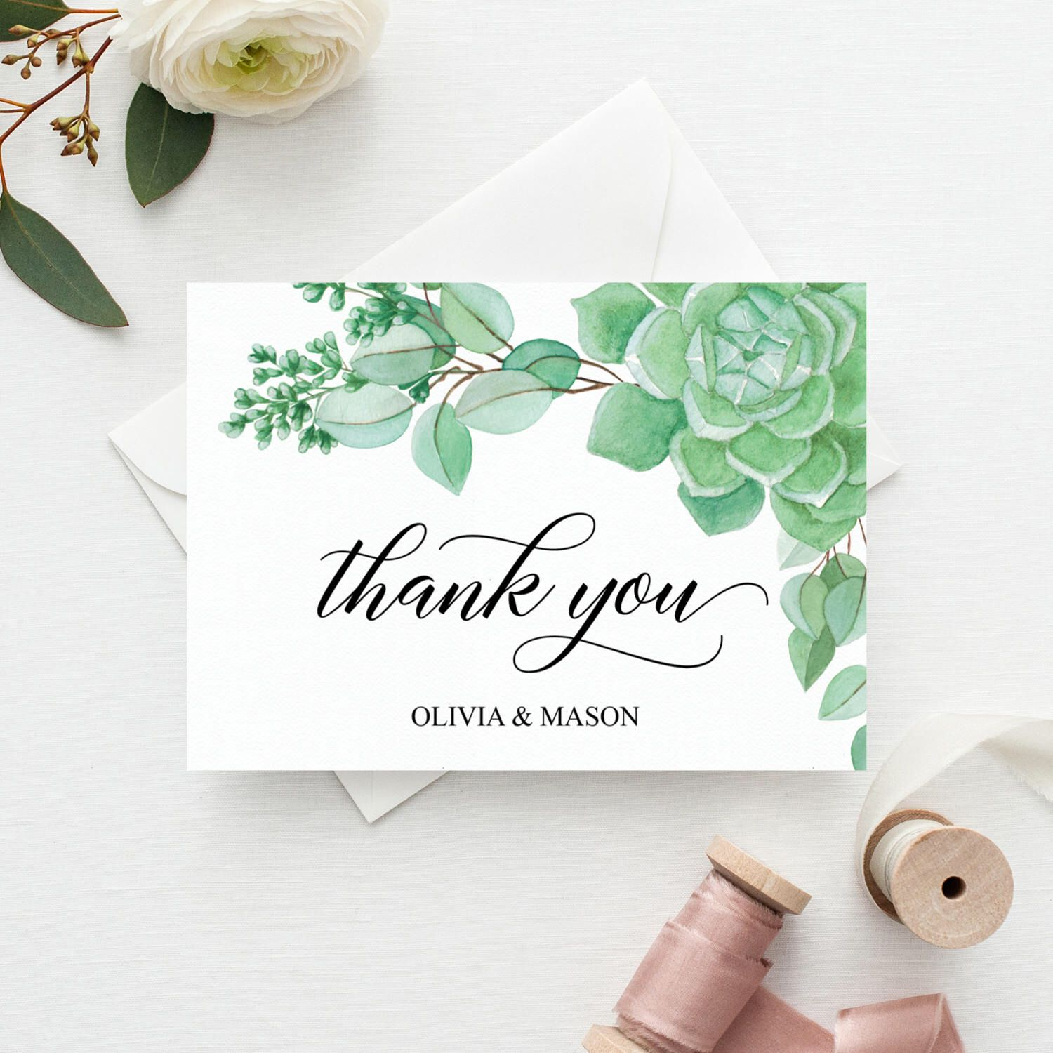 Succulent Thank You Cards  Wedding Thank You Cards