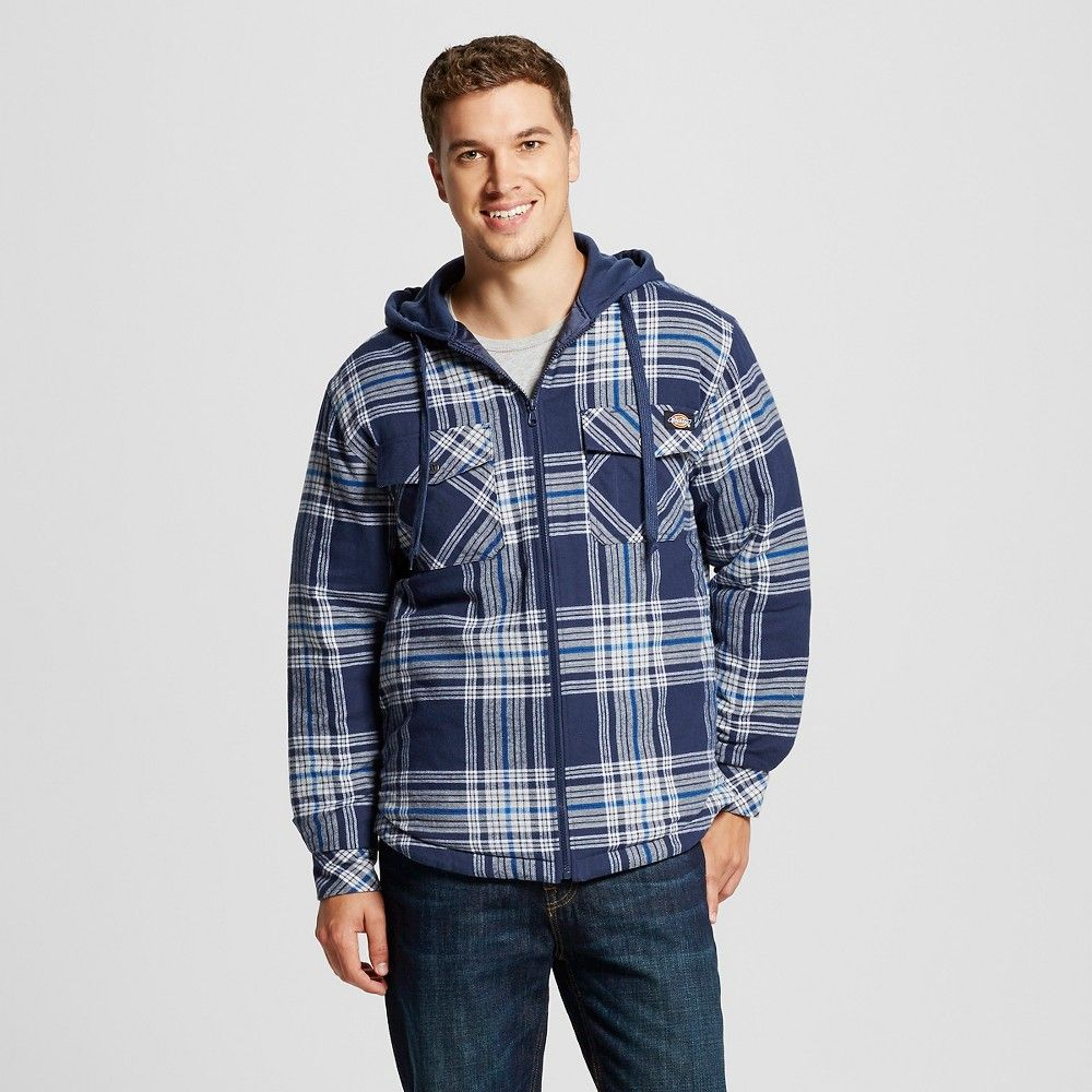 Mens hooded flannel jacket  Dickies  Menus Big u Tall Quilted Flannel Overshirt With Fleece