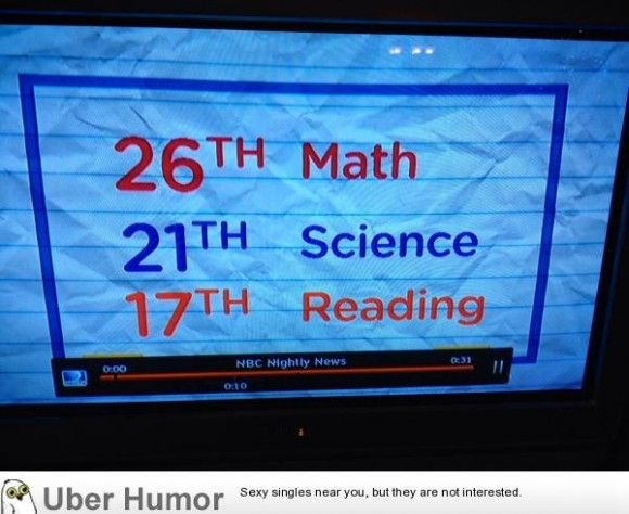 They were talking about American test scores on the news, and these rankings came up - http://gagthat.com/they-were-talking-about-american-test-scores-on-the-news-and-these-rankings-came-up/