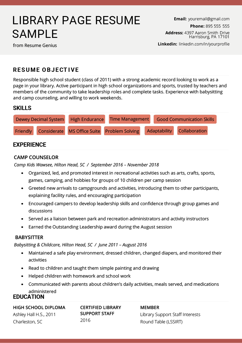 Library Page Resume Sample And Resume Building Tips Rg Resume Examples Resume Templates Modern Resume Template Free
