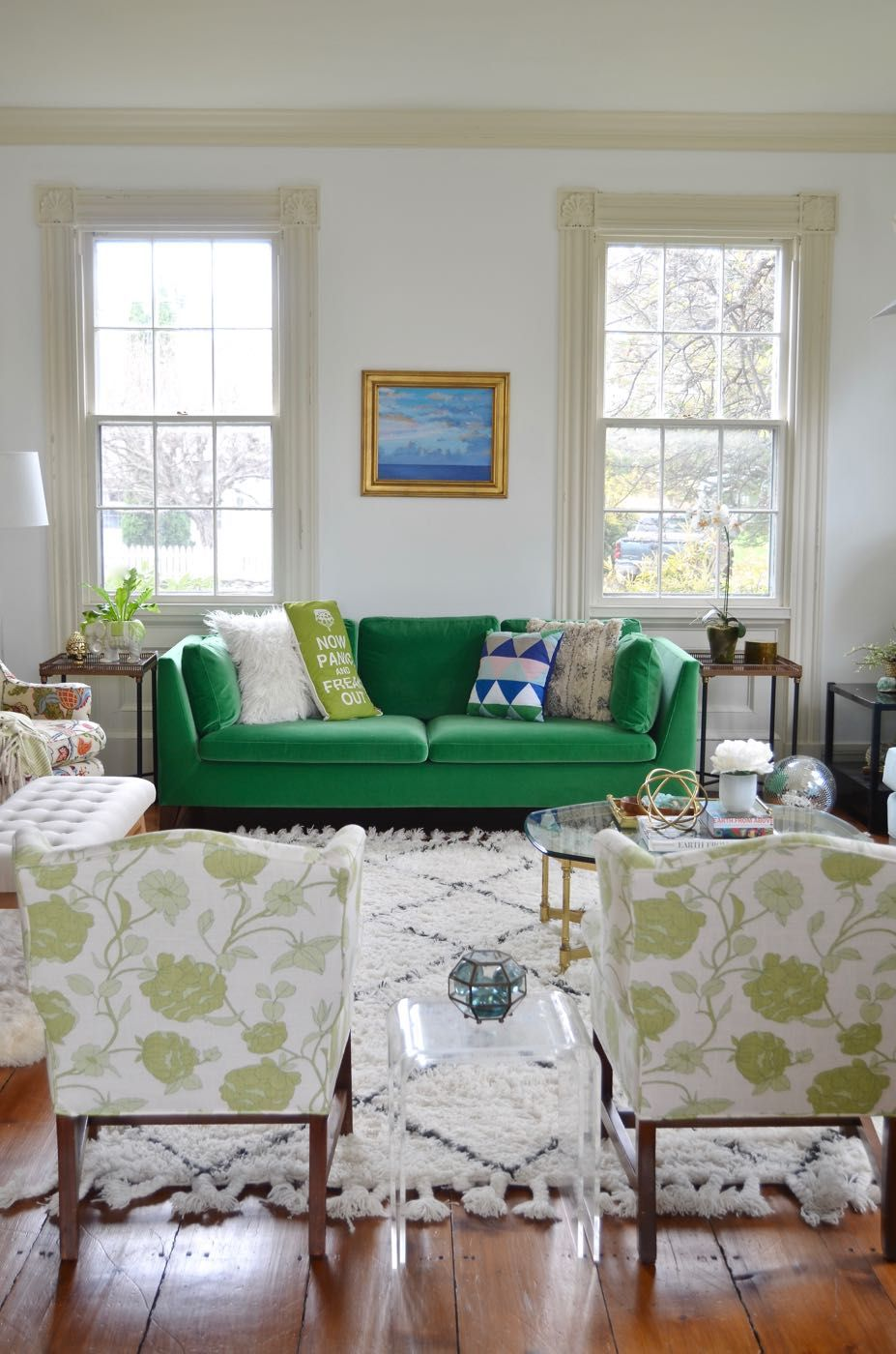A Green Couch is the Couch for Me | Living room, Room ...