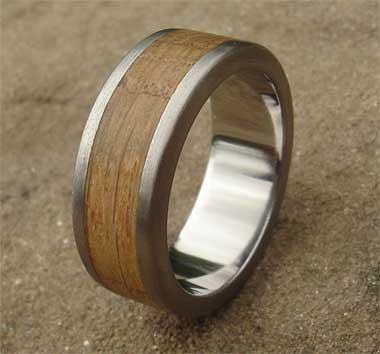 Mens Wood Inlay Titanium Wedding Ring LOVE2HAVE UK! in
