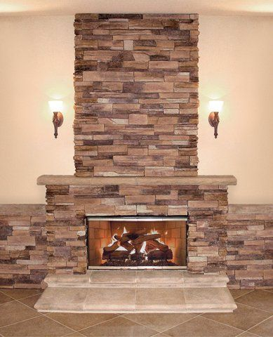 Coronado Stone Quick Stack / Carmel Mountain - Stone Fireplace That is really pretty!